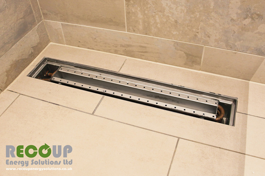 Recoup WWHRS Drain+ Compact wet room installation, stainless steel cover removed