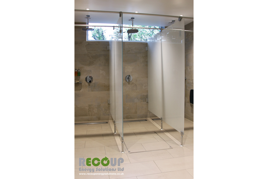 Recoup WWHRS Drain+ Compact wet room installation three units with glass screens