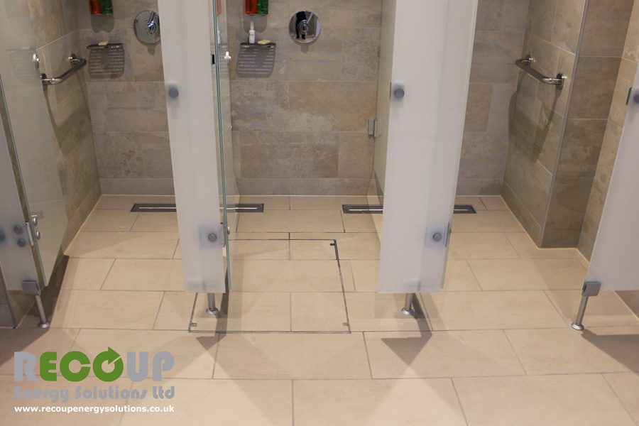 Recoup WWHRS Drain+ Compact wet room installation two units with glass screens