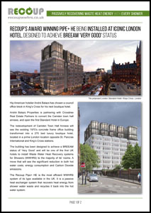 Recoup WWHRS Case Study - Waste Water Heat Recovery Savings at Kings Cross Hotel