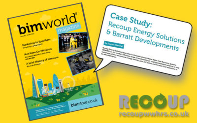 BIM World case study feature on Recoup WWHRS and Barratt Developments