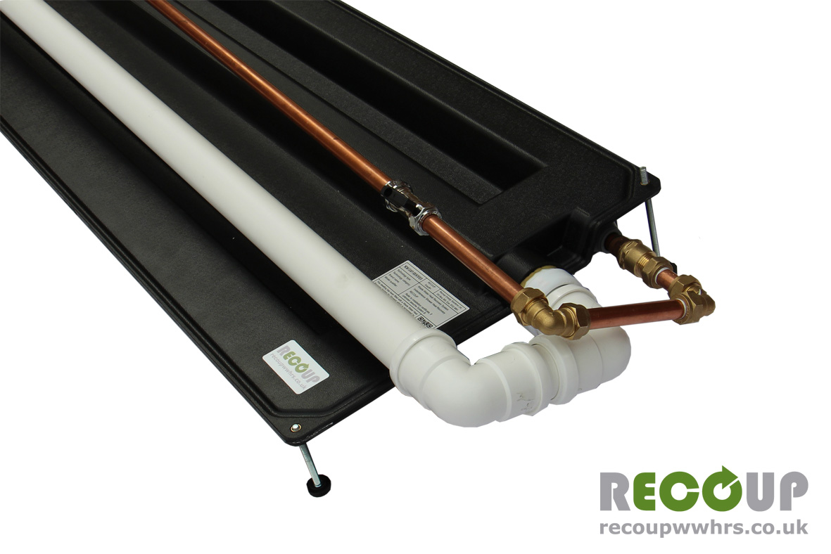 Recoup WWHRS Easyfit+ installed with pipework detail - Waste Over
