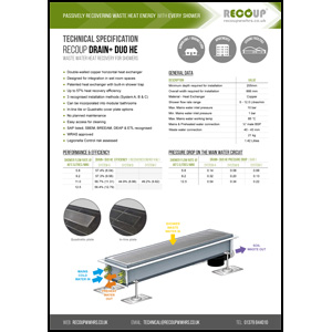 Recoup Drain+ Duo HE Technical Specification